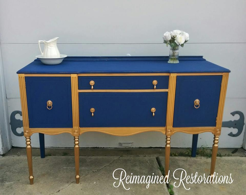 Navy and gold buffet table.  10565063_10152251470367606_3854008616800720615_n - For Sale Reimagined  Restorations - Gold Buffet Table - Gold Buffet Table Premier Comfort Heating